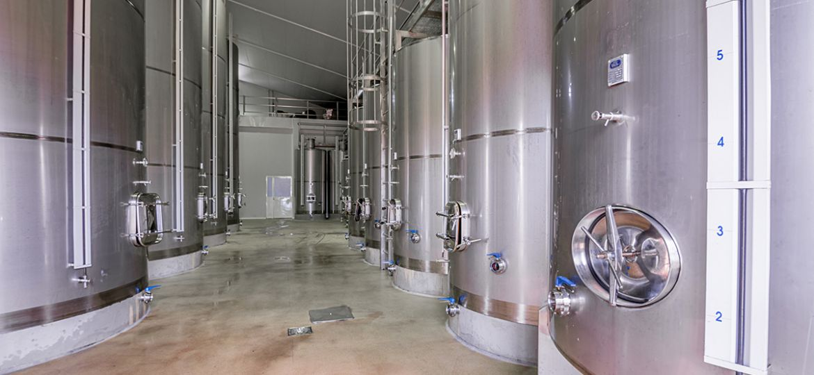 modern wine cellar with stainless steel tanks
